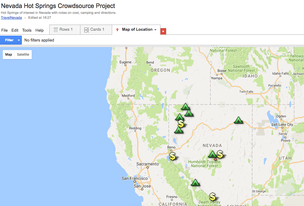 Map of the Nevada Hot Springs Crowdsource Project